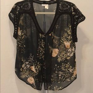 Meadow Rue black blouse with embellished sleeve